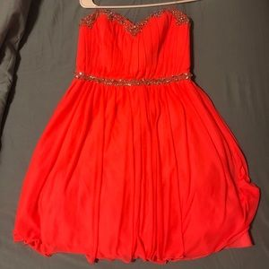 Strapless coral homecoming dress size medium